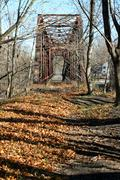 old railroad bridge - stock photo