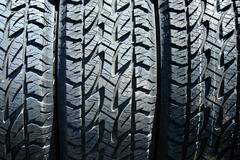 car tires background - stock photo
