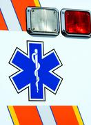 Stock Photo of caduceus on the side of a ambulance