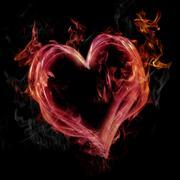 Pink flaming heart Stock Illustration