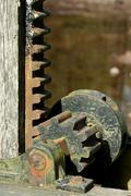 old rusty metal gears - stock photo