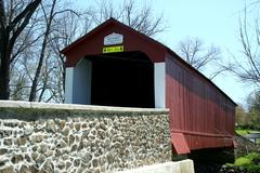 van sandt covered bridge - stock photo