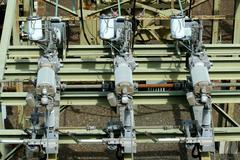 electric transformer substation - stock photo