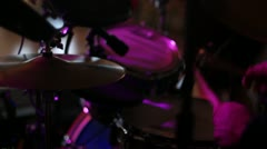 Drummer of live band at wedding cu hi-hat and snare dj lighting Stock Footage