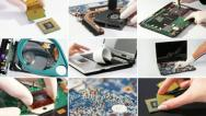 Collage of computer (laptop) hardware and components Stock Footage