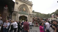Exterior grand bazaar gate, crowded, Istanbul, Turkey Stock Footage