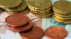 Euro coins and banknotes Stock Footage
