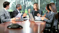 Ambitious Multi Ethnic Business Team Meeting - stock footage