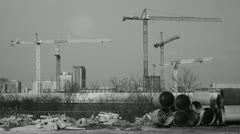 Five cranes working. Timelapse. Stock Footage