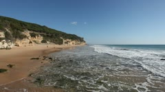 Atlantic ocean beach on the Costa de la Luz, Andalusia, Spain Stock Footage
