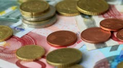 4K. Euro Coins And Banknotes. Stock Footage