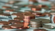 4K. A Pile Of Coins And Cash. Stock Footage