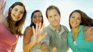 Caucasian Family Tourism Advertisement Stock Footage