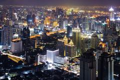 Bangkok skyline night Stock Photos