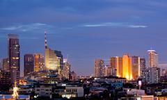 bangkok downtown at dusk - stock photo