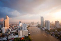 Bangkok skyline sunset Stock Photos
