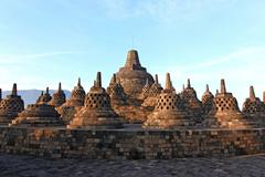 borobudur temple stupa ruin - stock photo