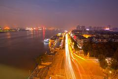 wuhan hubei china at dusk - stock photo