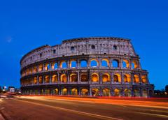 colosseum rome italy night - stock photo