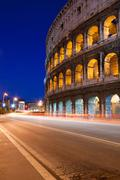colosseum night - stock photo