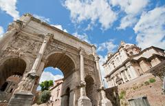 ruin roman forum - stock photo