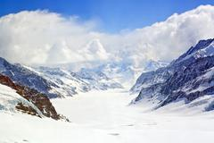 Stock Photo of closeup of great aletsch glacier jungfrau region,part of swiss alpine alps at