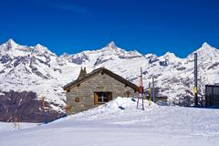 Stock Photo of brick house at matterhorn alps,gornergrat switzerland