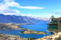 queenstown downtown with the remarkable range - stock photo