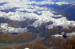 landscape of southern alpine alps from top view - stock photo