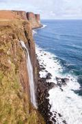 kilt rock waterfall scotland - stock photo