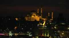 Skyline Istanbul after dark, big dolly Stock Footage