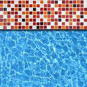 mosaic pool background - stock photo