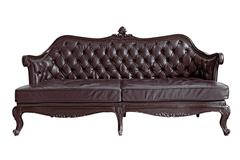 Brown leather sofa Stock Photos