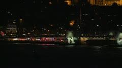 Bridge and partial skyline Istanbul dusk dolly medium Stock Footage