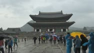Stock Video Footage of Tourits visit Geunjeongjeon Hall, Gyeongbokgung Palace,Seoul, South Korea