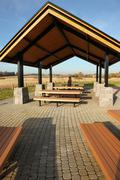 recreational & picnic area shelter. - stock photo