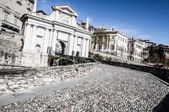 old european street, bergamo, italy - stock photo