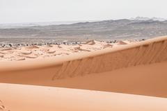 Sand dunes at sunset in the sahara  in morocco Stock Photos