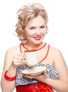 Stock Photo of blonde woman with cup