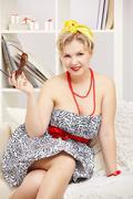 blonde size plus model - stock photo