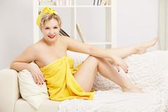 woman in bath towel - stock photo