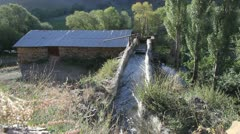 Water mill and river Stock Footage