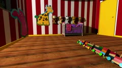 Kids room with traditional type toys falling into place Stock Footage
