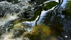 Stream water flow with stones underwater and reflections Stock Footage