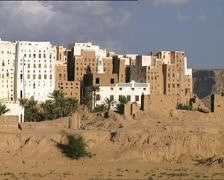 "YEMEN Shibam ""Manhattan of the Desert"" buildings pan Stock Footage"