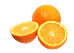 Full orange fruit and segments Stock Photos