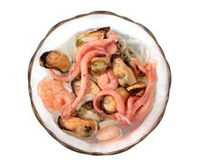 Seafood in glass plate Stock Photos