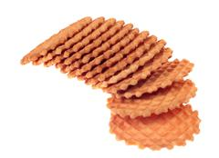 a stack of waffle cookies - stock photo