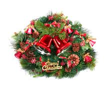 Christmas decoration with two red bells and green wreath Stock Photos