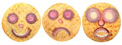 Set of cake faces Stock Photos